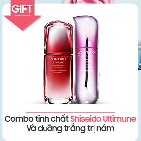 Combo tinh chất Shiseido Ultimune và dưỡng trắng trị nám