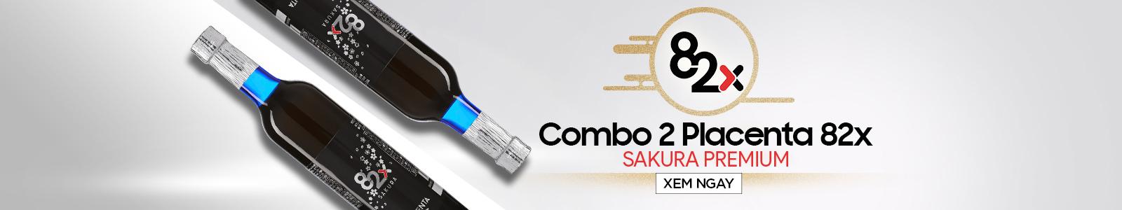 Combo 2 chai tinh chất nhau thai Placenta 82x Sakura Premium 450000mg 500ml