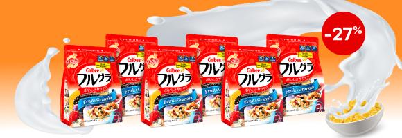 Thùng ngũ cốc trái cây Calbee Nhật Bản (6 gói x 482g)