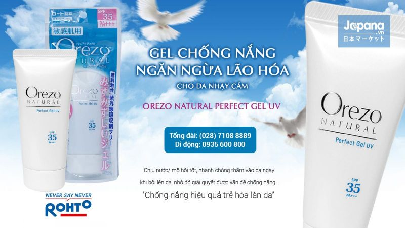 Gel chống nắng Orezo Natural Perfect Gel UV SPF35/PA++