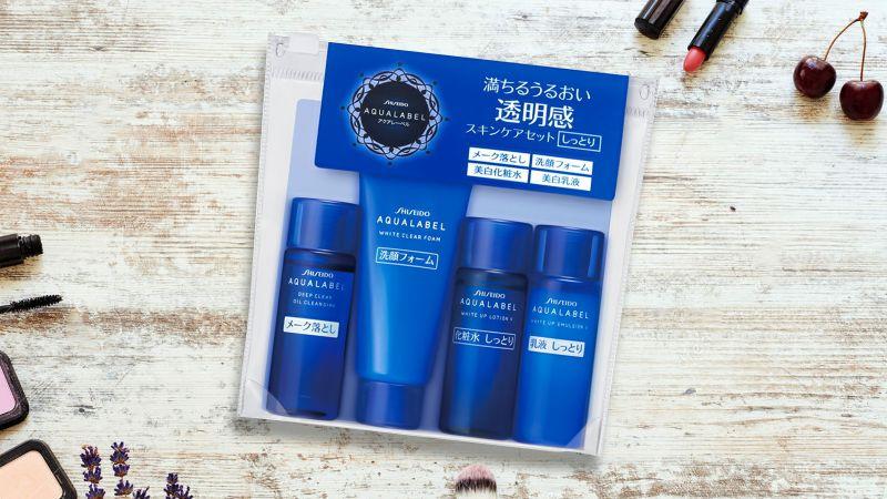 Set mini Shiseido Aqualabel màu xanh 4 món