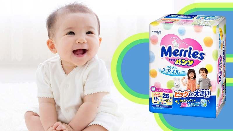 Bỉm - Tã quần Merries size XXL 26 miếng (Cho bé 15 -