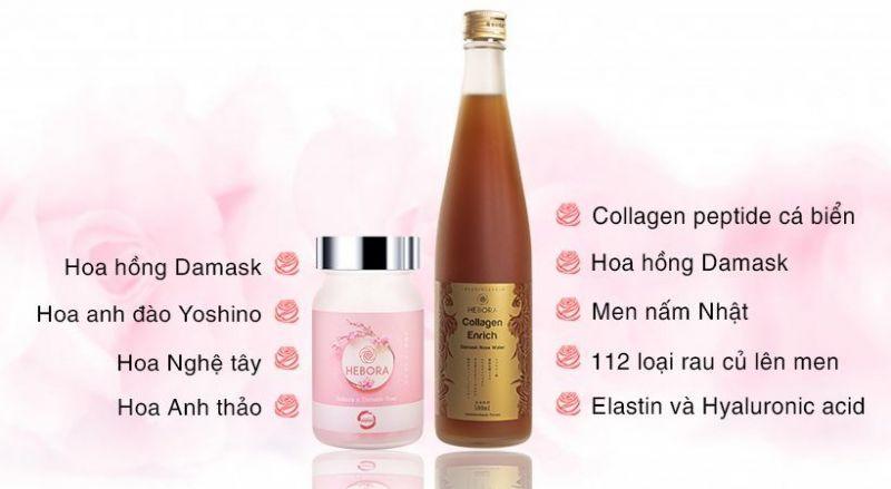 Bộ đôi nước uống Collagen Enrich 500ml và viên uống tạo mùi hương Hebora 60 viên