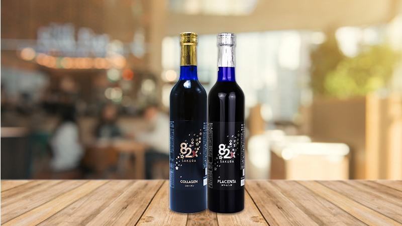 Combo 2 chai nước uống Collagen và Placenta 82x Sakura Premium 500ml