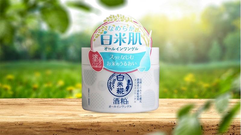 Kem dưỡng trắng da rượu gạo Cosmetex Roland Hakumaikouji All In One Gel Sake 180g
