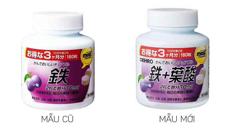 Viên uống bổ sung sắt Acid Folic Most Chewable Iron Orihiro 180 viên