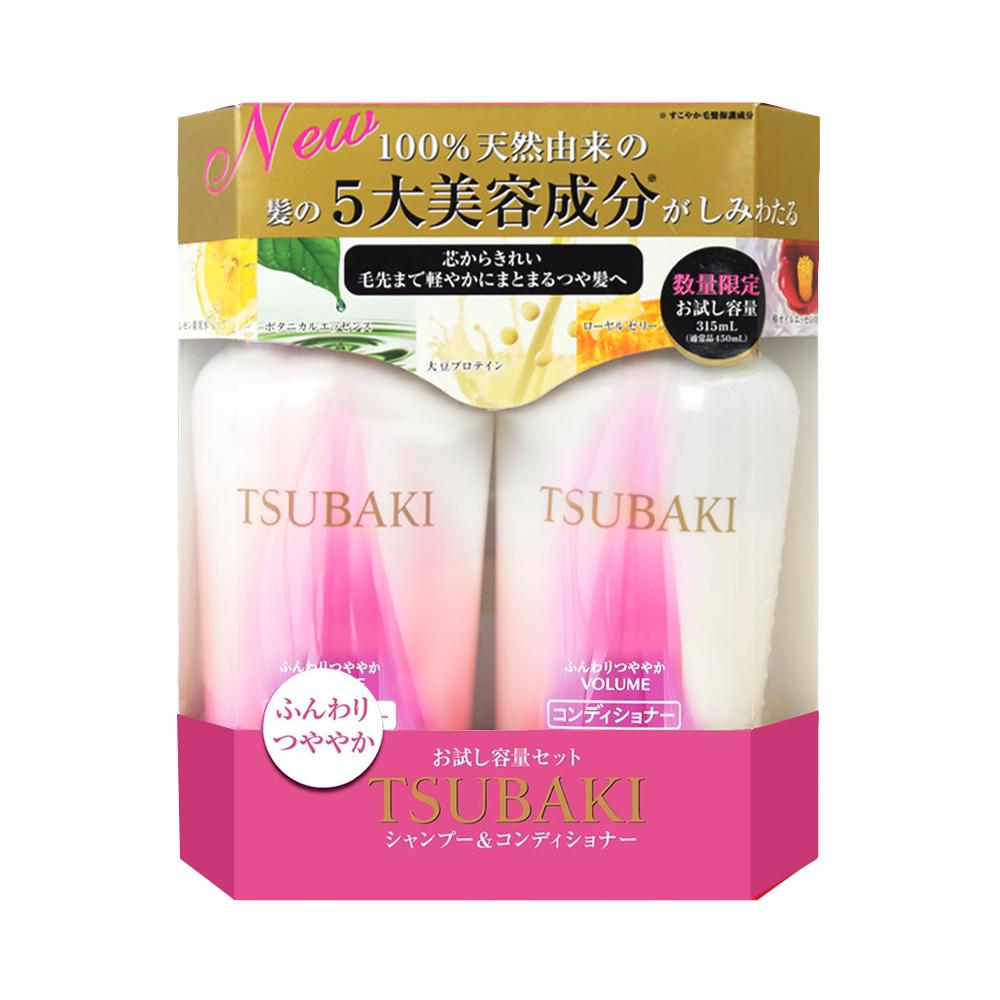 Bộ dầu gội và dầu xả Shiseido Tsubaki Volume Touch Nhật Bản 315ml (màu hồng)