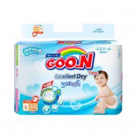 Bỉm - Tã dán Goo.N Renew Slim size L 32 miếng (Cho bé 9 - 14kg)