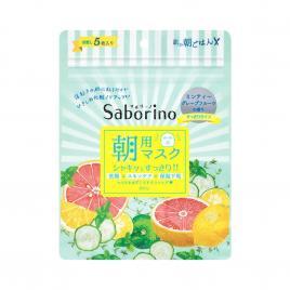 Mặt nạ dưỡng ẩm buổi sáng Saborino Morning Facial Sheet Minty Fresh 5 Miếng (Hương bạc hà)