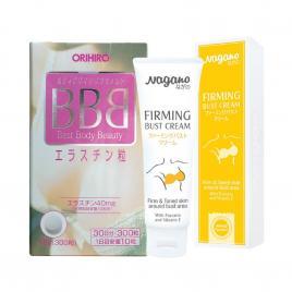 Bộ đôi viên uống nở ngực BBB 300 viên và kem nở ngực Nagano Firming Bust Cream 100ml