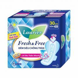 Băng vệ sinh ban đêm lưới siêu mềm Laurier Fresh & Free 30cm 4 miếng