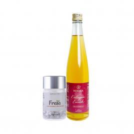 Bộ đôi nước uống Collagen Enrich Hebora 500ml và viên uống trắng da Fresa 60 viên
