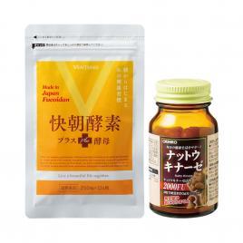 Bộ đôi chăm sóc sức khỏe hỗ trợ điều trị tai biến Orihiro & giảm cân Enzyme Fucoidan Kaicho