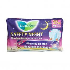 Băng vệ sinh ban đêm chống tràn Laurier Safety Night 35cm 4 miếng