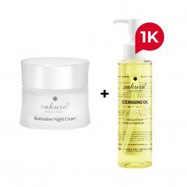 Bộ đôi chăm sóc da mặt kem dưỡng da ban đêm và dầu tẩy trang Sakura 150ml