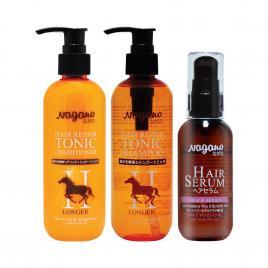 Bộ 3 phục hồi tóc hư tổn chiết xuất dầu ngựa Nagano