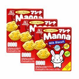 Combo 3 hộp bánh quy sữa Morinaga Manna Milk Biscuit 52g (Dành cho bé từ 6–36 tháng tuổi)