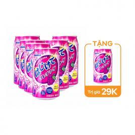 Combo 6 lon nước soda Sangaria Hajikete 350g