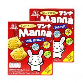 Combo 2 hộp bánh quy sữa Morinaga Manna Milk Biscuit 52g (Dành cho bé từ 6–36 tháng tuổi)