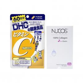 Bộ đôi nuôi dưỡng da trẻ Nucos Collagen và Vitamin C DHC