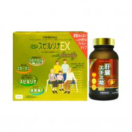 Bộ đôi chăm sóc sức khỏe giải độc gan Nichiei Bussan Liver Extract Sperm EX và tảo vàng Spirulina EX