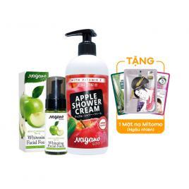 Combo kem bọt rửa mặt và sữa tắm Vitamin E hương táo Nagano
